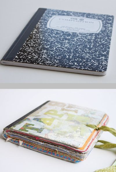 Turning an inexpensive composition book into a journal ~ Easy tutorial by Ashley Hackshaw. A little time-consuming, but only uses Liquitex Matte Medium & acrylic gesso to create very sturdy pages. #art_journal