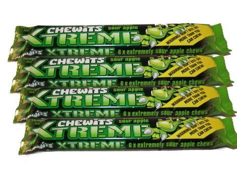 Chewits Xtreme sour apple chews x 4 bars each bar contains 6 chews