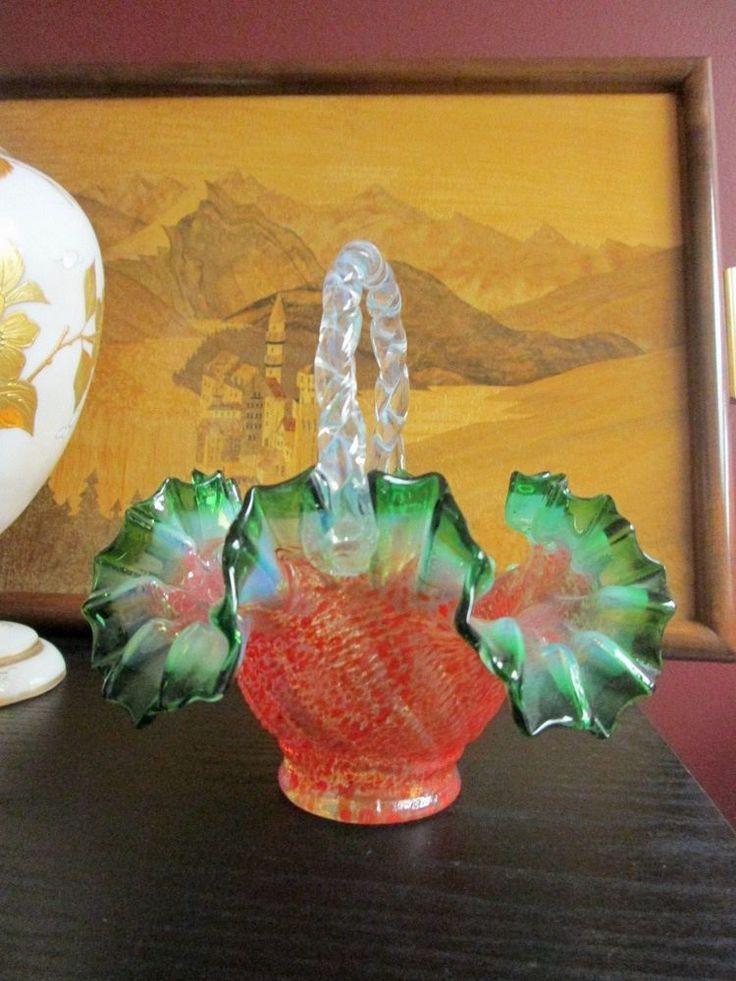 VICTORIAN GLASS BASKET Crimped Ruffled Opalescent Rim Mandarin Red Spatter HTF! #Victorian #Unknown