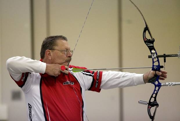 This is my dad--the Chief as I call him. He is awesome.  Dave Eastman shoots during the Oklahoma State Indoor Archery Championship part of the Bart and Nadia Sports and Health Festival, at the Cox Convention Center in Oklahoma City, Sunday, Feb. 12, 2012. Photo by Sarah Phipps, The Oklahoman