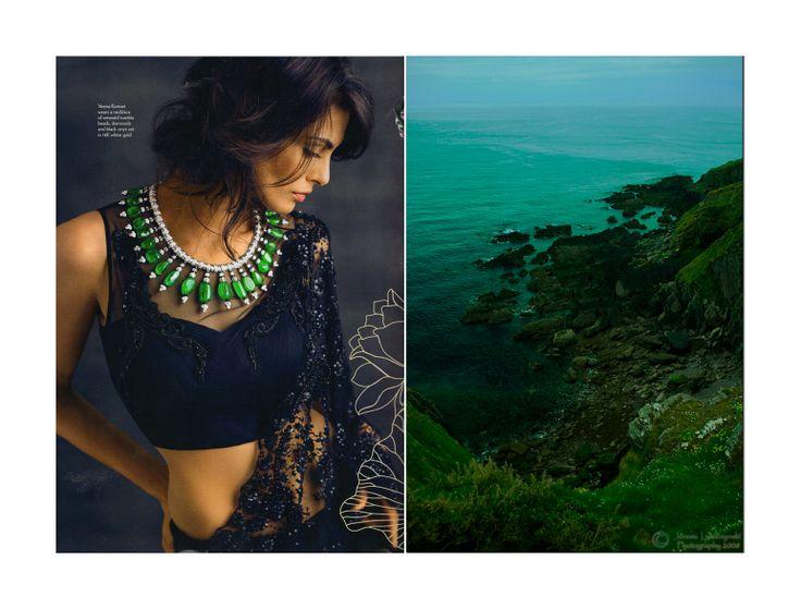 Emerald green and Black sari