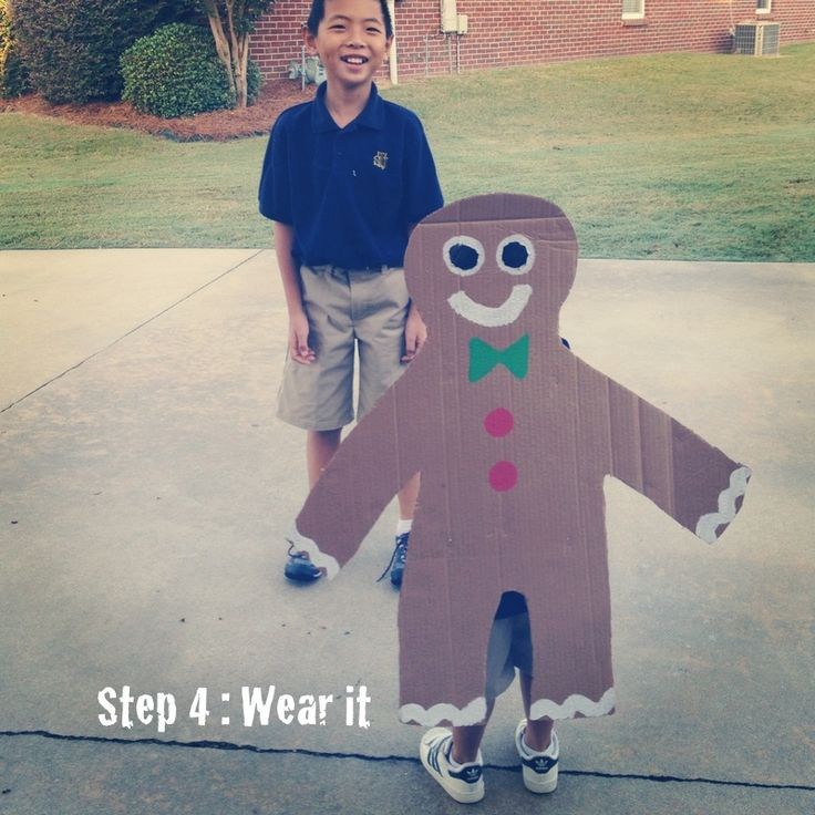 I want T to be a gingerbread man for Storybook Day so badly but all the DIY costumes are super complicated.  This is right up my alley.
