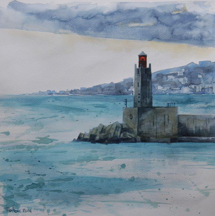 Nice harbor, watercolor, 40x40 cm