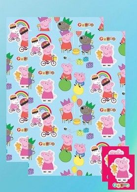 Must have Peppa Pig wrapping paper. Peppa Pig 3rd Birthday Card for your little fairy!! More peppa pig party supplies at partyweb.us #peppapigpartysupplies #peppapigparty #peppapigpaper