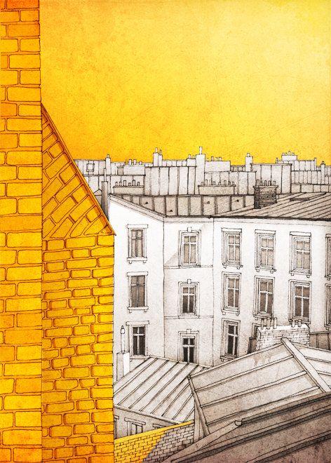 Sunny day in Paris - Paris illustration - Paris art illustration print,Paris decor,Love,orange,yellow,Paris wall art,France,French fine art