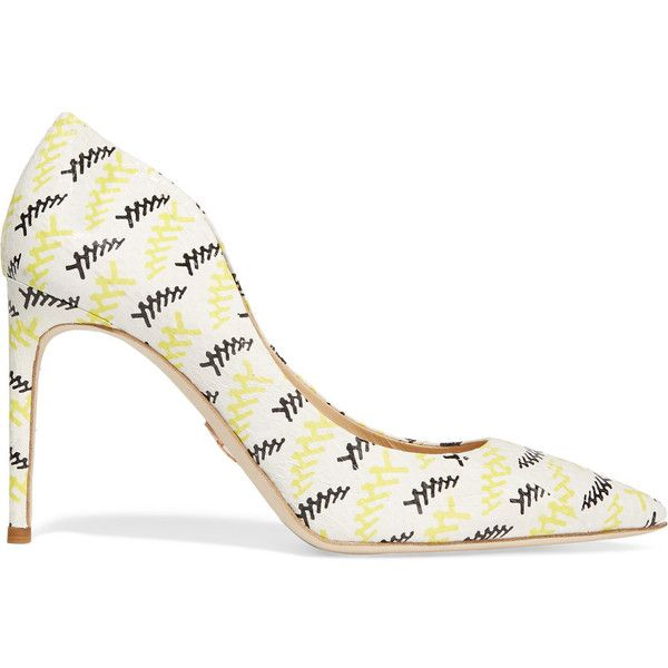 Chelsea Paris Ava printed elaphe pumps (£206) ❤ liked on Polyvore featuring shoes, pumps, cream, high heel court shoes, slip-on shoes, slip on shoes, high heeled footwear and pointy toe high heel pumps