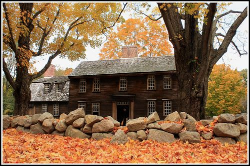 Hartwell Tavern Battle Road, Concord, MASweets Home, Colonial Homes, Autumn, New England Fall, Stones Wall, House Architecture, Places, Inspiration Girls, Roads