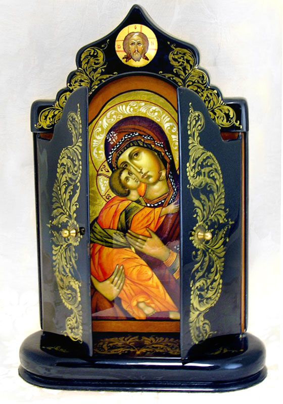 Virgin of Vladimir, Arch. Michael & Arch. Gabriel, Hand Painted Wooden Triptych Foldable Icon - at Holy Trinity Store