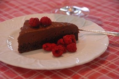 Dark chocolate & raspberry mousse cake - absolutely luscious & gluten free