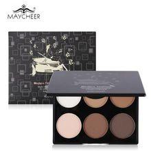 Maycheer marca cara polvo compacto 6 colores kit de maquillaje compacto polvo highlighter bronceador contour palette cosmética(China (Mainland))