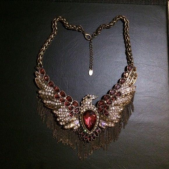 Zara Phoenix Bird Pendant Necklace Very rare!!!!! Zara Phoenix Bird Pendant Necklace Vintage Runway Inspired Bib Chain!! With ruby stones! Sold on eBay for up to $90!! Zara Jewelry Necklaces
