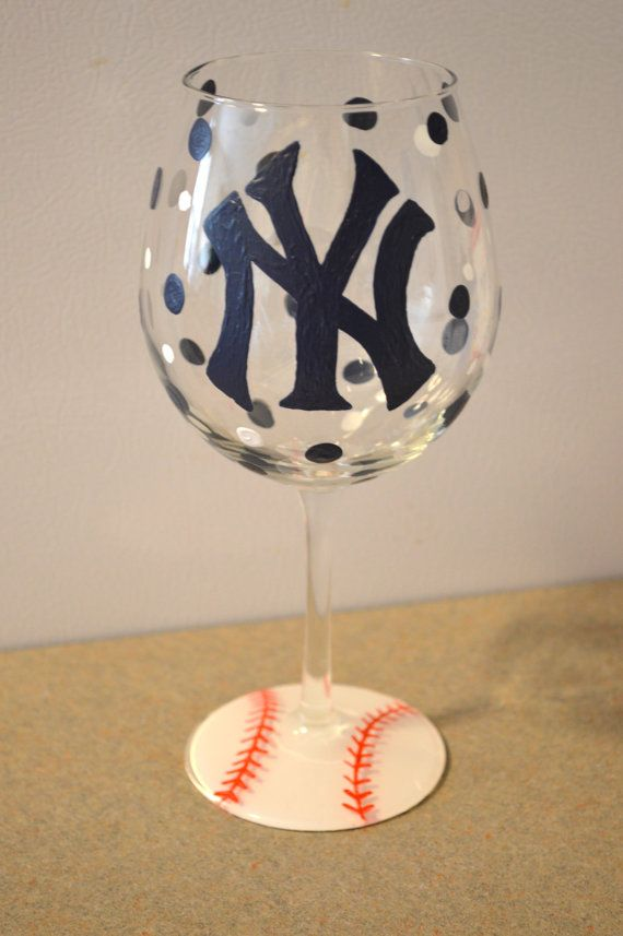 Yankee wine glass by SweetLilDelights on Etsy, $25.00