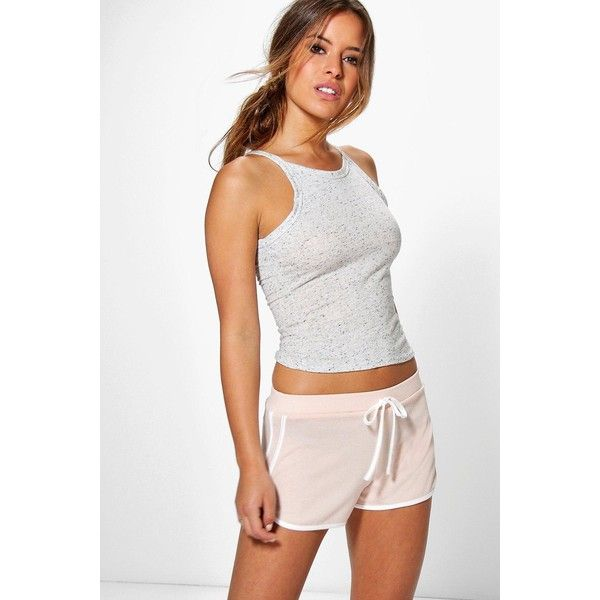 Boohoo Petite Ally Space Dye Knitted Gym Running Shorts ($16) ❤ liked on Polyvore featuring shorts, blush, flat-fronted shorts, petite shorts and cotton shorts