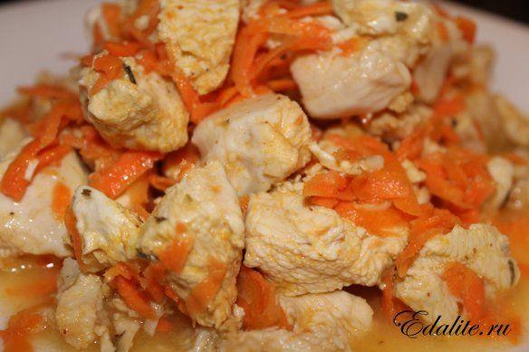 Куриное филе с морковкой в пароварке