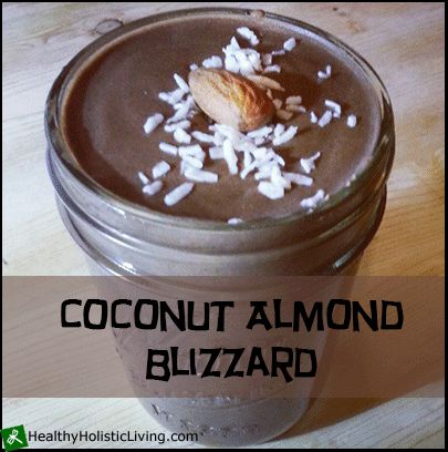 So you eat healthy and avoid junk but sometimes you just want something decadent? No problem try this coconut almond blizzard