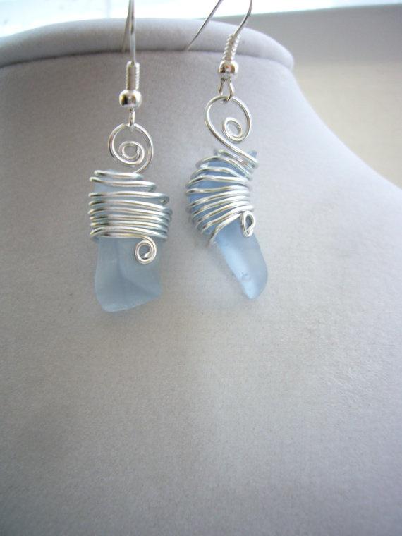 Hand wrapped sea glass earrings