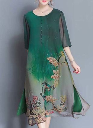 Silk Jute Bloemen Halflange mouw Midi Casual Jurken (1039110) @ floryday.com