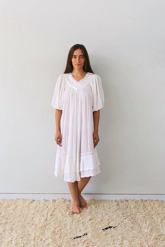 fc58757d5f Tulum Gauze Dress    vintage 70s 1970s cotton embroidered crochet ...