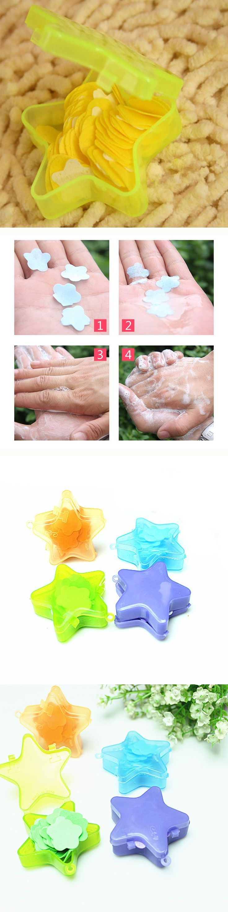 2pcs Portable Soap Paper Star Shaped Hand Bath Cleaning Travel Ourdoor Bath Soap Paper Sheets Convenient Foaming Soap Box
