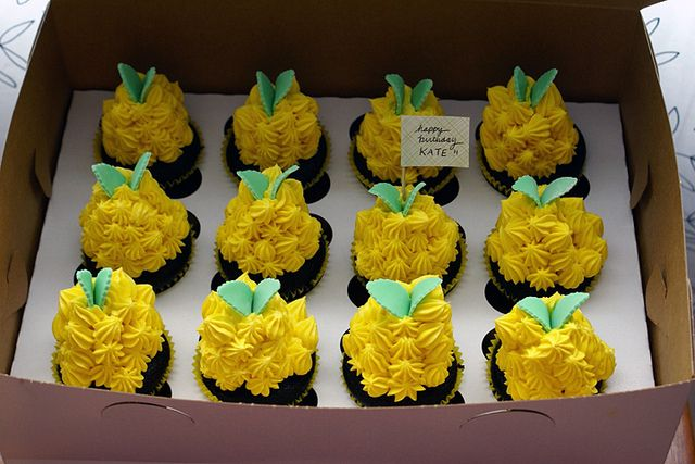 pineapple themed chocolate cupcakes! by { coco cake cupcakes }, via Flickr