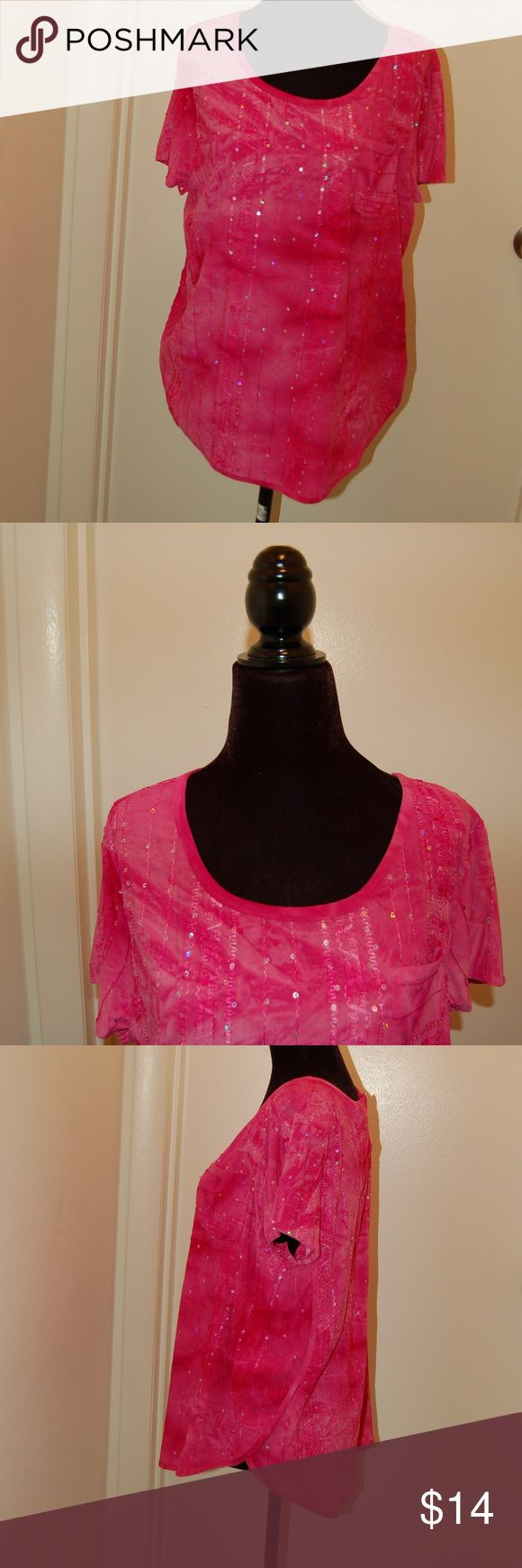 """Sami & Jo Pink Short Sleeve Top Cute pink top with sequins and breast pocket.  Bust: 41"""" Hem: 40"""" Shoulder width: 16 1/2"""" Sleeve length: 6"""" Length from the top of the back collar to the hem: 24 1/2"""" Sami & Jo Tops"""