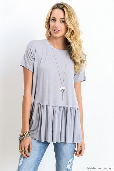 233232d1cae Basic Short Sleeve Loose Peplum Top-Grey in 2019