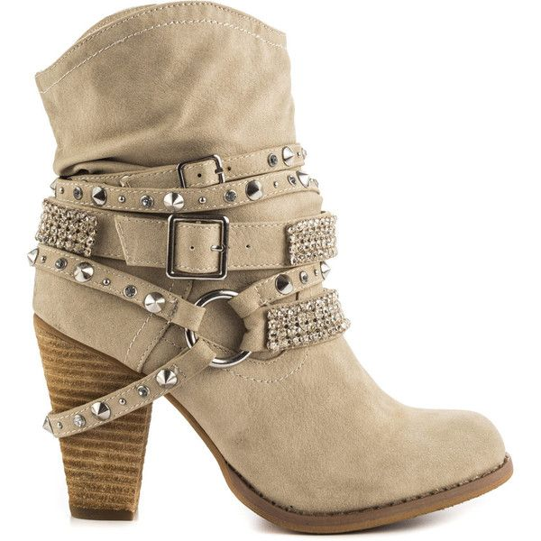 Not Rated Women's Swanky - Cream featuring polyvore, fashion, shoes, boots, beige, tall boots, beige leather boots, tall buckle boots, faux leather boots and high heel boots