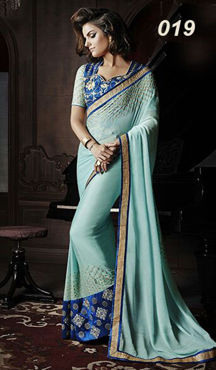 Pallu - GOli Work On Georgette With And Ready lace Skirt - GOli Work On Georgette With Big Embroidered Lace Blouse - Heavy Embroidered Work With Stone WOrk On Banglori Silk And Georgette Sleeves