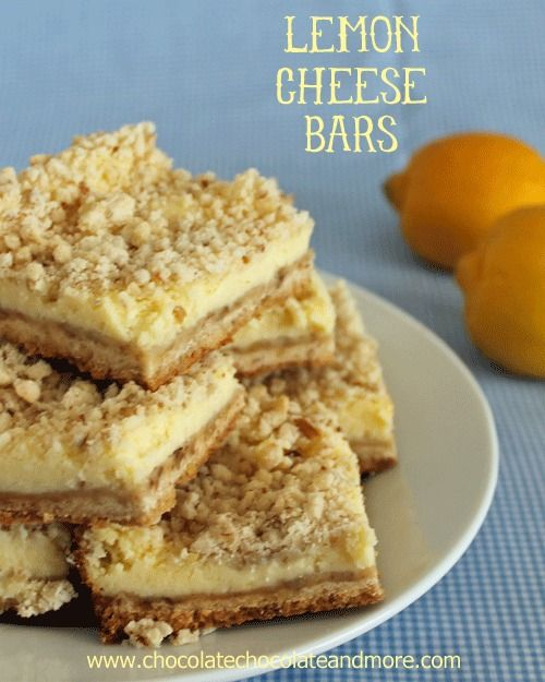 Lemon Cheese Bars-just the right combination of lemon, sweetness and cheesecake with a crumb topping.