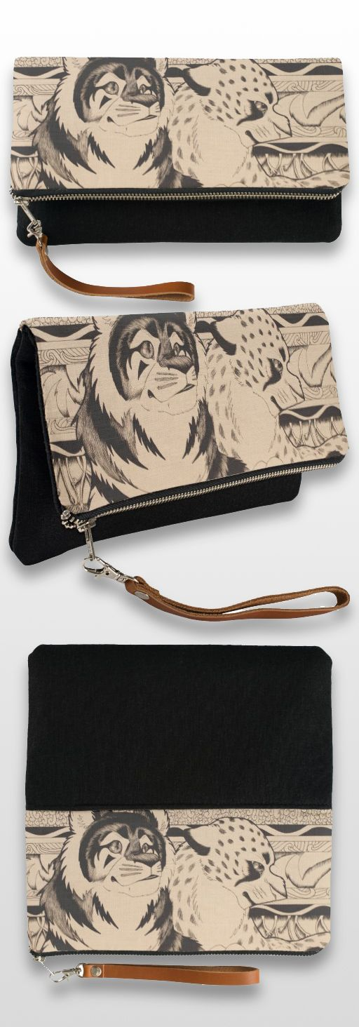"""Royals"" Black and White Illustrated Clutch Bag #tiger #cheetah #feline #products #sepia #art #illustration #drawing #gifts"