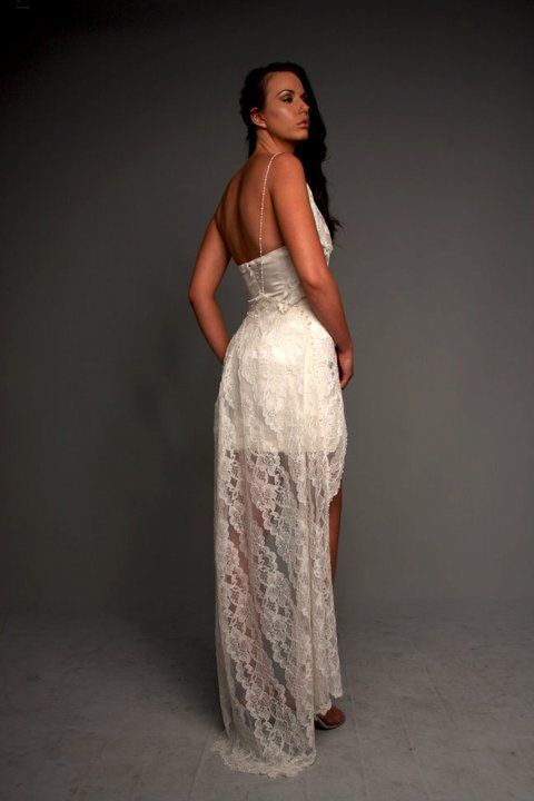 Short wedding dress with lace train http://www.arcarocouture.com.au/