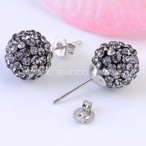 Pair Gray Fimo Crystal Disco Ball Earring Ear Stud Nickel Free Hip Hop Jewelry