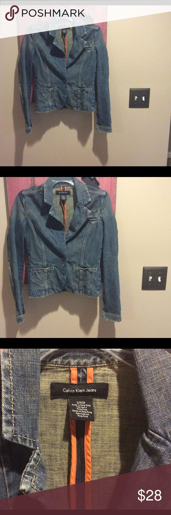 Calvin Klein jean jacket Adorable, distressed Calvin Klein jean jacket! So cute!!  Size small.  💕😊 Calvin Klein Jackets & Coats Jean Jackets