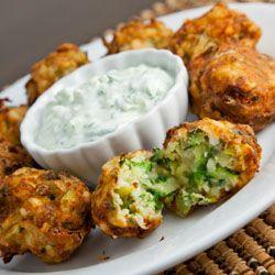 Kolokythokeftedes (Greek zucchini and feta balls) with tzatziki.