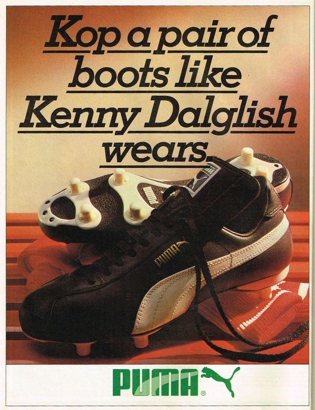 ea40eae61562 Kenny Dalglish and Puma football boots advert in the late 1970s ...