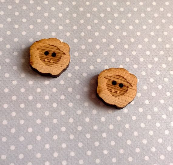 Adorable handmade Welsh sheep buttons, so cute! Handmade laser cut and engraved wooden Welsh by PinkyBearDesigns sold per pack of 6.