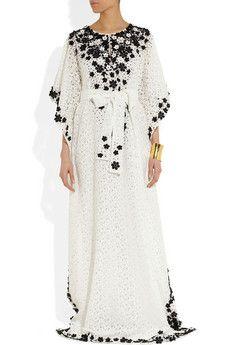 Oscar de la Renta | Floral-appliquéd lace kaftan