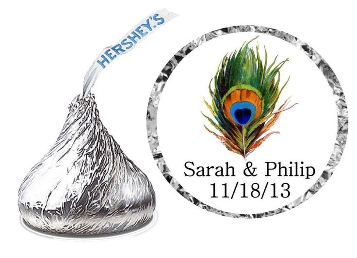 432 PEACOCK WEDDING FAVORS HERSHEY KISS KISSES LABELS
