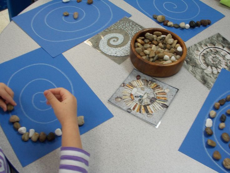 Introducing shapes and designs with nature objects.