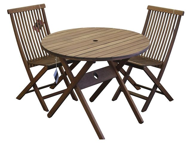The Timbo Mestra Hardwood Outdoor 3 Piece Bistro Set with a folding round table and 2 folding chairs seats two people.  This folding bistro set is made from solid Eucalyptus Wood which is a fast growing renewable tropical hardwood.