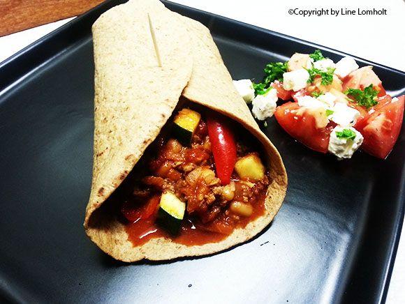 Wraps med kødfyld - a la chili con carne