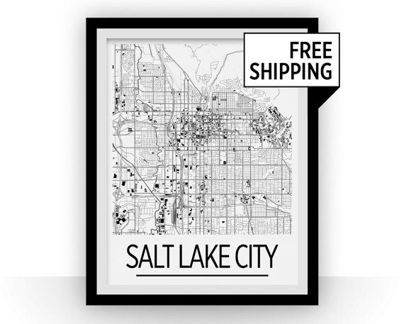 Salt Lake City Map Poster  usa Map Print  Art Deco by iLikeMaps