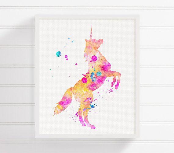 Stampa artistica unicorno, unicorno dell'acquerello, Unicorn pittura, vivaio arte stampa, Unicorn Poster, Unicorn Wall Art, stampa archivio, camera dei bambini