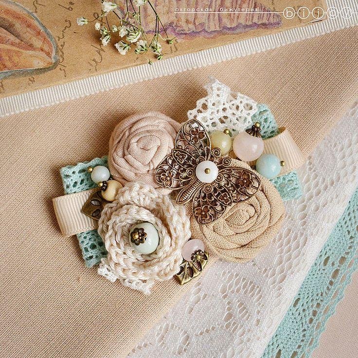"""Купить Брошь """"Ажурная бабочка"""" - мятный, бежевый, песочный, пыльная роза, молочный, брошь цветок"""
