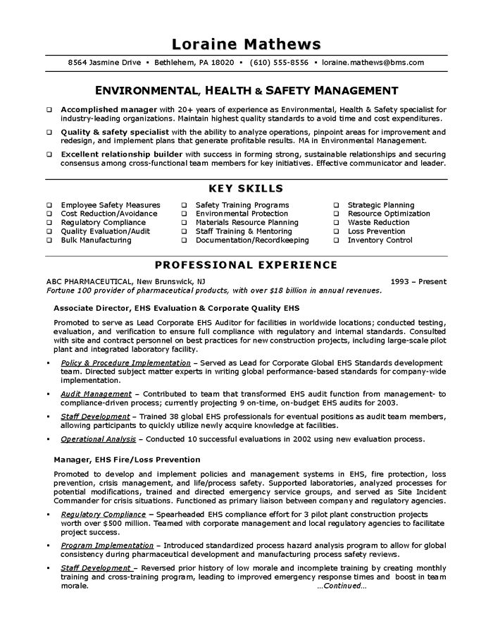environmental health  u0026 safety sample resume