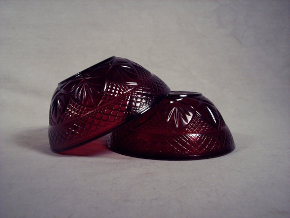 Vintage Ruby Red Luminarc Bowls Antique by SnapshotsThroughTime
