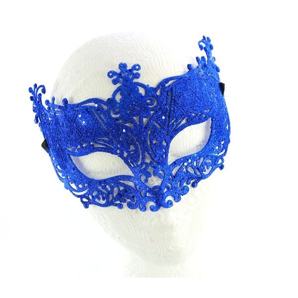 Royal Blue Glitter Masquerade Mask - http://www.masquerademaskshq.com.au/shop/dark-blue-masquerade-mask/