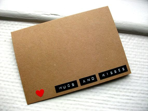 Hugs and Kisses - Dymo labels and neon heart kraft card.