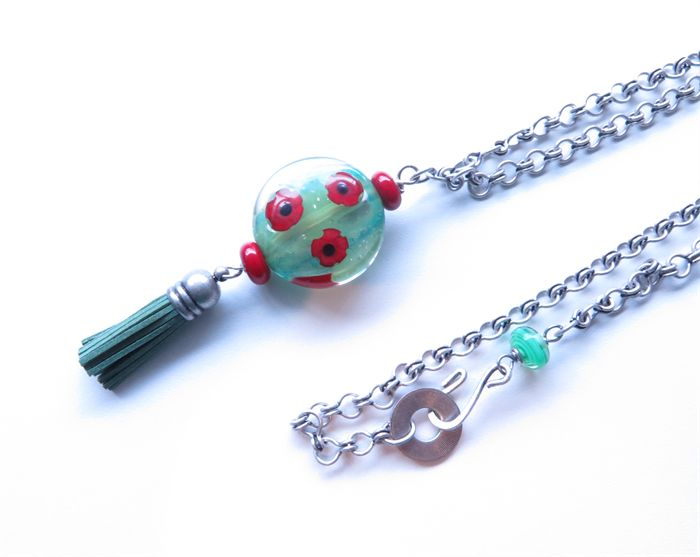 Poppy green and red pendant chain necklace | sasha+max studio | madeit.com.au
