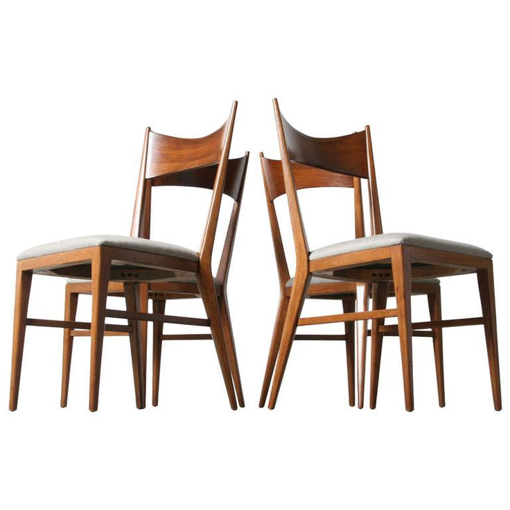 Paul McCobb Bowtie Walnut Dining Chairs For Calvin Furniture Set Of 4